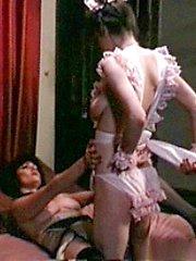 Lesbian retro couple playin