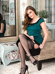 Honour looking classy in her green retro dress, classic sheer black fully fashioned vintage...