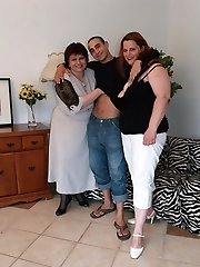 Marta and Chaste are top heavy mature plumpers having a nice threesome on the couch