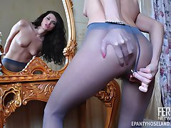 Hairy girl licks her butt plug through tights before slowly pulling them up