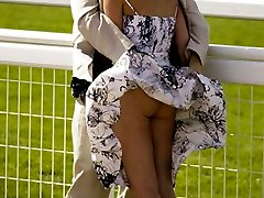 A mature woman in stockings in these upskirt shots