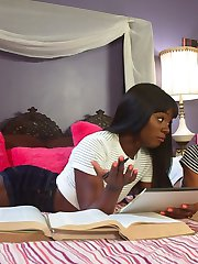 While studying for a challenging midterm, Ana Foxxx seduces hot sorority sister Nikki Darling to...