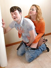 Kinky guy craving to taste babes strap-on before wild ass-splitting action