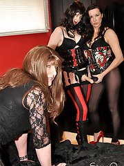 Strapon Helga shows this tranny slut that she is in charge