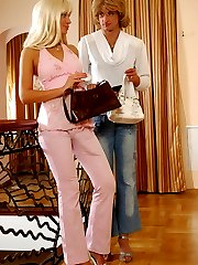 Lewd sissy lowers his denim aching to feel every thrust of a gals strap-on