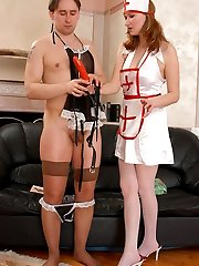 Nasty sissy guy in sexy slip under strap-on treatment by sizzling hot nurse