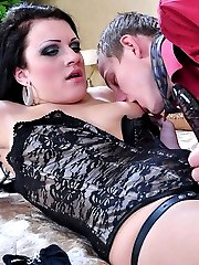 Angry chick punishes her sissy guy and makes him cum on her strapon dick