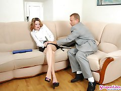 Kinky man luring his female coworker into strap-on fucking right in office