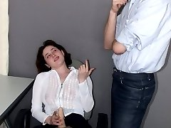 Lustful female co-worker having strap-on as the best instrument for work