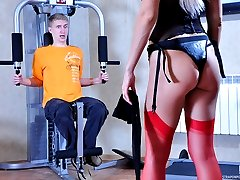 Pervy blonde mistress turns a shocked guy into a screaming strapon whore