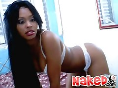 Hot naked curly ebony babe loves to fuck herself on cam in these smokin pics