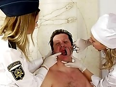 Obedient male slave of two bad femdom nurses