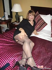 Sexy amateur crossdressers in cute womens lingerie and nylon stockings showing their cocks