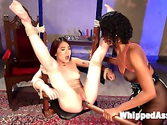 19 year old anal slut Lea Heart is bound, dominated and fucked by hot domme Lotus Lane with...
