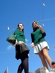 Schoolgirl upskirt - legal teen in green skirt spyed