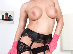 Blonde Ashleigh helping you relax in black lace panties and ff nylons!