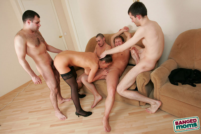 Sex-addicted 40+ mom in sexy black stockings DPed and gangbanged by 4 horny  dudes