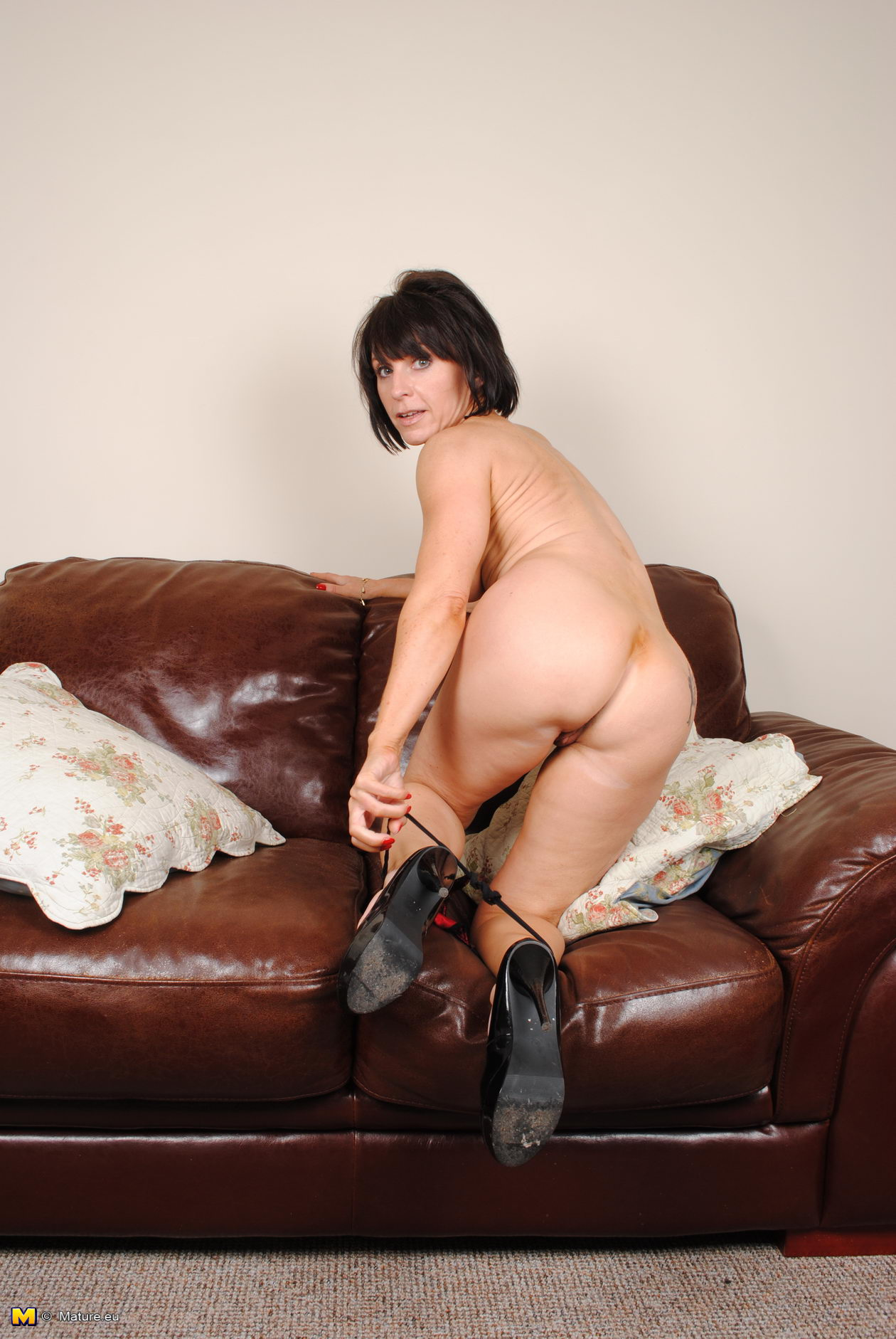 On Milf the couch masturbating