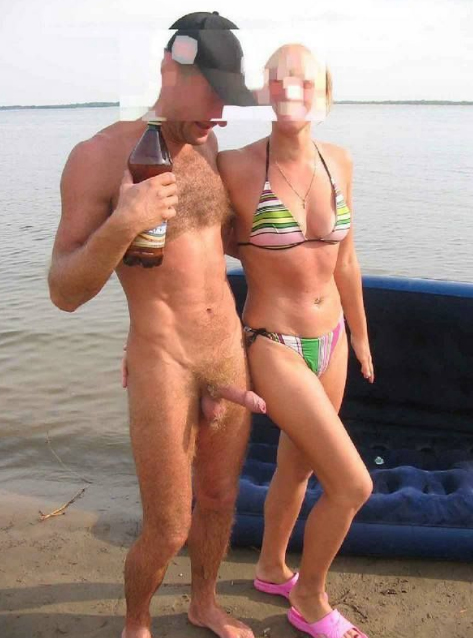 Naked Images chick flashes pussy at beach