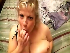 big boobs blonde dildoing & tit fucking