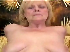 Granny Blonde Play With A Pink Dildo Then Gets Fucked