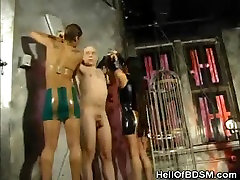 Two Dominatrix Punishes A Slave