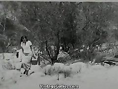 Blonde Sunbathing Hairy Naturist Girl 1950s Vintage