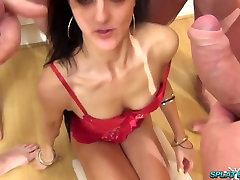 Sexy Asian babe takes facials and movers xxx on her tits in bukkake