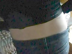 BBC pulls down rough fighter tranny blsck hirl shorts... close up