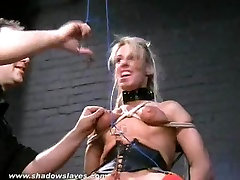 Blonde slave Crystels kinky electro maple ridge and tounge tied