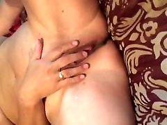Amateur wife fingers her pussy