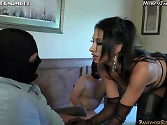 Femdom bisex withs strapon tease and denial cum eating