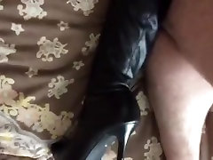 Doggie style fuck in her nylons and boots