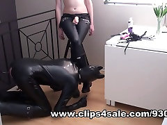 Puppy Slave Cums On Rubber Boots And Licks Clean
