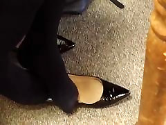 Candid Ebony Seated Dipping Sexy Black Tights Pantyhose Feet