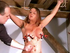 Busty amateur bdsm of screaming milf Gina in harsh tit