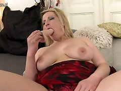 Horny blonde mother playing with her wet pussy