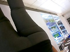 mexican milf wearing grey tights. with huge ass