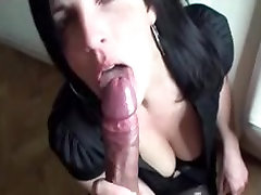 Sexy brunette swallows his cum