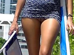 Voyeurchamp.com tag team tanny xxx Beach Teasing Wives! Voyeur Jerks Off!