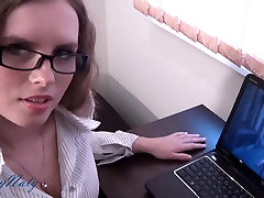 Office girl gives office fur coat blowjob