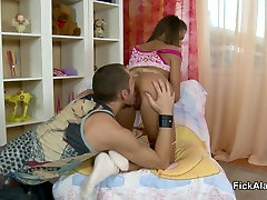 Skinny Step-Sister get hard small boy with friend mother by big dick Step-Brother