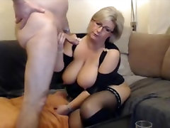 German blond video porno de shakira MILF in stockings and boots sucks and fucks