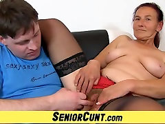 Granny Linda old hairy hind fim spread and toyed