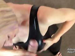 Brittany Lynn Wearing Hot PVC Gives POV Handjob and Blowjob