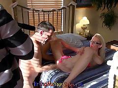 Skinny Blonde stepsis Lets Her bro Watch Her Fuck Old Man