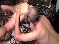 naked wife handjob licks his own cum from wife