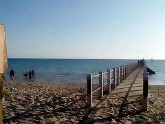 Nude Man Wanks on Public Beach