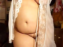 BBW Wife on WebCam with little titty creampie Pussy