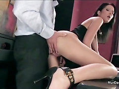Boss fucks his horny secretary in the office